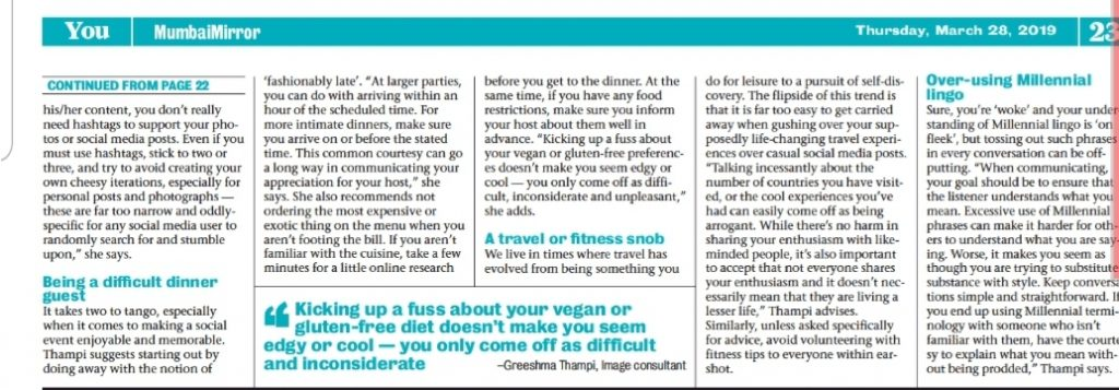 Quoted in Mumbai Mirror on Social Etiquette