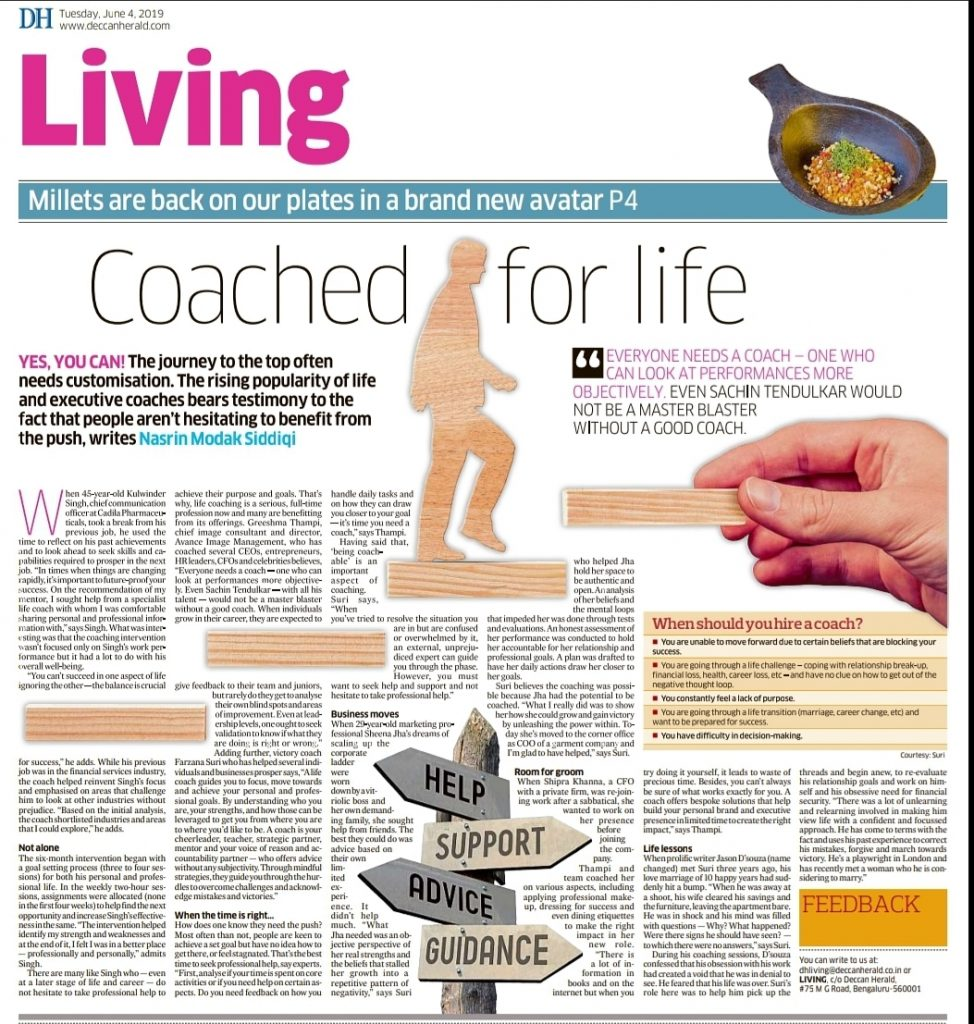 Quoted in Deccan Herald in importance of a Coach to expediate one's success