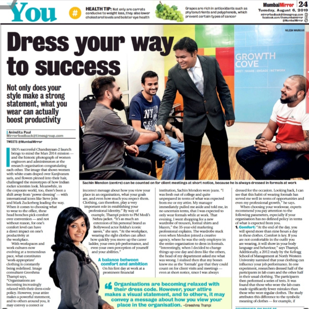 Quoted in Mumbai Mirror on the changing trends in Corporate Attire