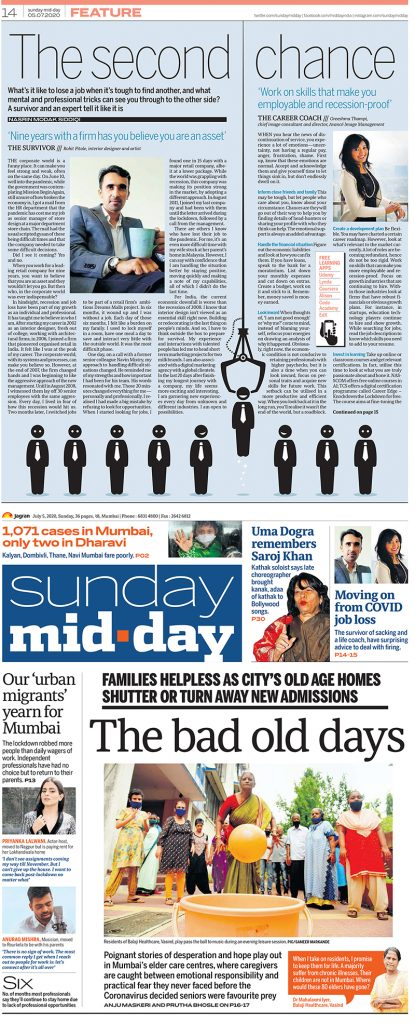 Featured in Sunday Mid-Day on managing job loss due to Covid