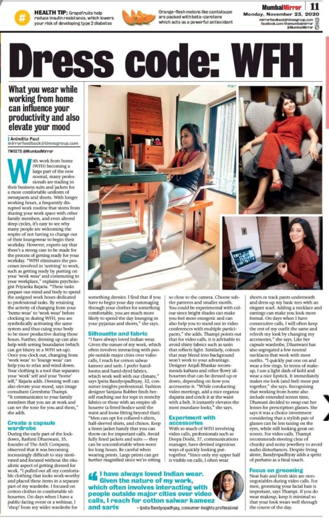 "Featured in Mumbai Mirror article - ""Dress Code"" - WFH"